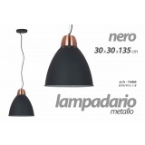 Lampadario camera in metallo nero cm 30 x 30 x 135 h