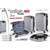 Set 3 valigie rigide in abs con ruote trolley doppia cerniera grigio