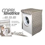 Copri lavatrice telo protettivo con zip 65x55x85 cm cuori