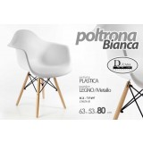 Poltrona seduta in plastica bianca gambe in legno metallo design