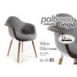 Poltona imbottita grigio piedi legno 66x53xh83cm design casa