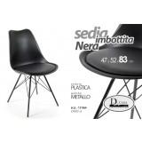 Sedia seduta in plastica imbottita nera gambe in metallo design