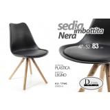 Sedia seduta in plastica imbottita nera gambe legno arredo design