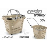 Ell cesta cestino trolley spesa tortora 50 lt 56x43x41 cm con rotelle
