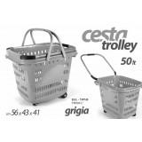 Ell cesta cestino trolley spesa grigio 50 lt 56x43x41 cm con rotelle