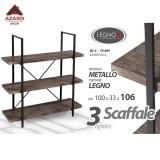 Scaffale in legno metallo 3 ripiani libreria mobile colore noce industrial