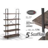 Scaffale 5 ripiani in legno colore noce industrial 100 x 33 x 174