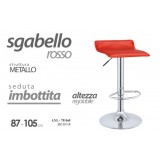 Sgabello in metallo con seduta imbottita rosso altezza regolabile 87-105 cm