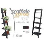 Scaffale inclinato in legno mdf nero 5 ripiani 57x40x182 cm a parete