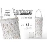 Lanterna porta candele 17x61 cm intreccio bambã¹ bianco con bicchiere in vetro