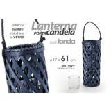 Lanterna porta candela in legno blu con vasetto in vetro base tonda 17x61 cm