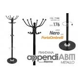 Appendiabiti piantana metallo base in marmo colore nero 176 cm + porta ombrelli