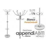 Appendiabiti piantana metallo base marmo colore bianco 176 cm + porta ombrelli