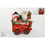 Babbo Natale su Carretto natalizio decorazione Natale h.52 cm per arredo