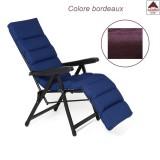 Sedia sdraio pieghevole imbottita poltrona relax reclinabile con poggiapiedi