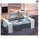 Tavolino da salotto caffè tavolo moderno design in vetro legno bianco ripiano