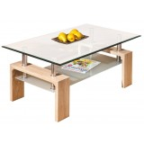 Kit tavolino salotto doppio vetro rovere cm 100x60x45h
