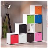 Contenitore scatola portaoggetti in tessuto cm 32x32x31h arancio x libreria cubo