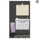 Mobile da bagno sospeso con lavabo e specchio bianco lucido set 2 ante in legno