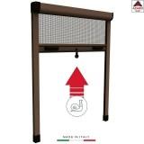 Zanzariera a rullo riducibile verticale scorrevole marrone in kit per finestra