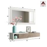 Mobile ingresso soggiorno moderno bianco sospeso con specchio design in legno