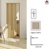 Porta a soffietto su misura in PVC scorrevole da interno effetto legno 88,5x214