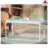 Tavolino salotto moderno bianco design industrial tavolo basso da divano caffè