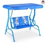 Dondolo da giardino 2 posti altalena per bambini in acciaio blu gioco esterno