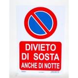 Letterfix Targa Divieto Di Sosta Anche Di Notte Negozio Garage Ufficio Cm20x30