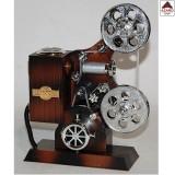 Carillon vintage musicale a forma di proiettore macchina film marrone arredo