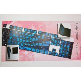 Pellicola adesiva per tastiera pc notebook qwerty fluo azzurro