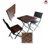 Set tavolo e sedie da giardino esterno balcone pieghevole in acciaio polirattan