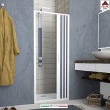 Porta per box doccia a nicchia soffietto scorrevole parete 1 anta in pvc 140 cm