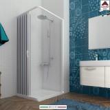 Box doccia 90x90 angolare in pvc bianco cabina 1 anta a soffietto su misura