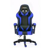 Poltrona sedia da GAMING con poggiapiedi BLU reclinabile per ufficio ergonomica