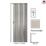 Porta a soffietto in PVC su misura tessuto grigio scorrevole da interno