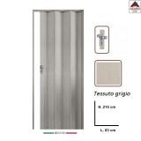 Porta a soffietto su misura in PVC grigia scorrevole 83x214 cm con serratura