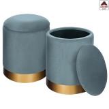 PZ 2 - Pouf pouff contenitore baule sgabello in tessuto petrolio sofa tondo