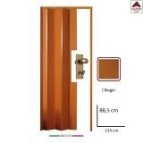 Porta a soffietto su misura in PVC effetto legno ciliegio 88,5x214 da interno
