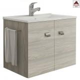 Mobile bagno sospeso con lavabo moderno legno grigio rovere 60 cm salvaspazio