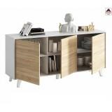 Credenza moderna bianca rovere madia buffet mobile soggiorno 3 ante in legno