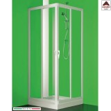 Box doccia 75x75 angolare in pvc bianco cabina 2 lati porta scorrevole su misura