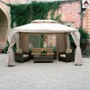 Gazebo 4x4 da giardino in alluminio telo impermeabile zanzariere e laterali