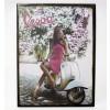 Targa pubblicitaria vintage in metallo insegna vespa donna 26,5x35 cm